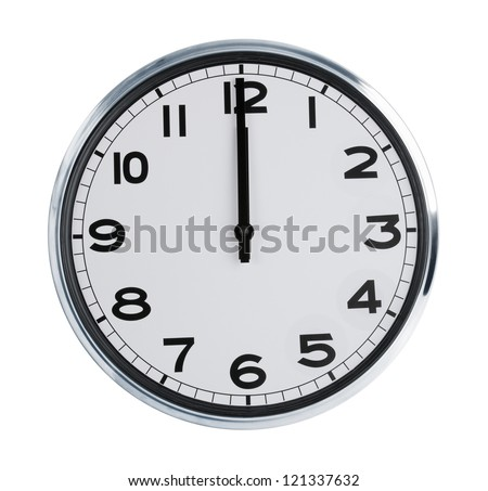 Wall clock on a white background show the twelve o'clock - stock photo
