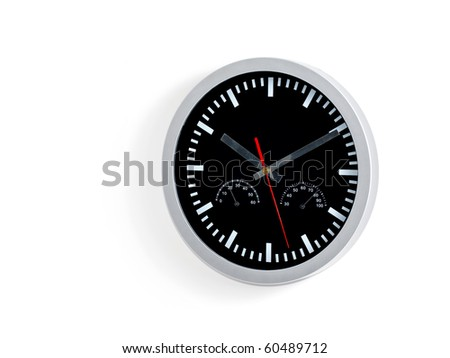 Wall clock on white background - stock photo