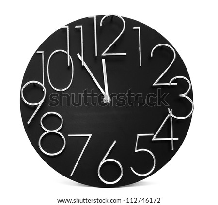 Wall clock, photo on the white background - stock photo