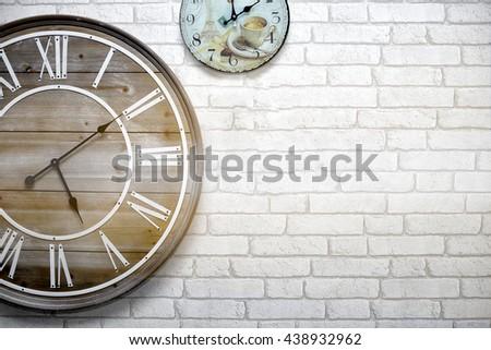 wall clock ,Vintage, - stock photo
