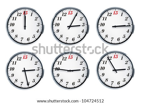 Wall clock with a red number thirteen on the dial - stock photo