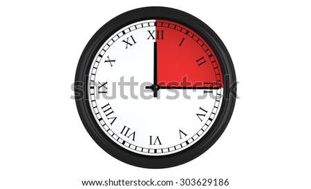 Wall clock with Roman numerals showing a 15 minutes red time interval, isolated on a white background. Realistic 3D computer generated image.