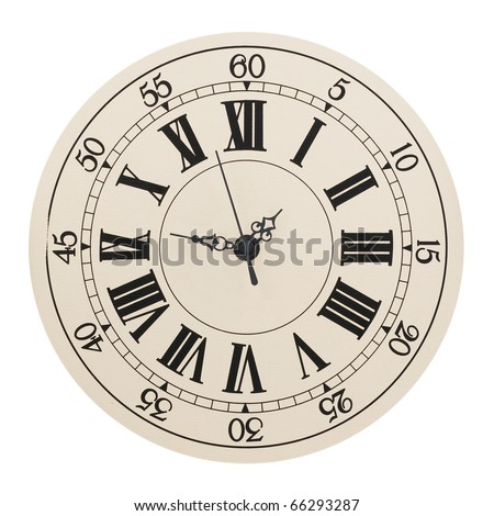 Wall clock with the Roman and Arabian figures - stock photo