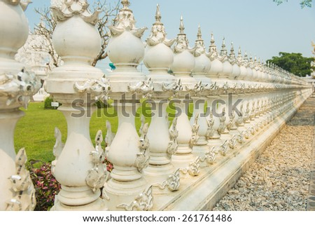 Wall conceptual sculpture decorations in Rongkhun Temple Chiangrai, Thailand. - stock photo