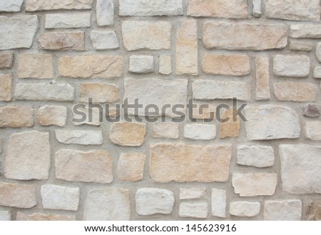 wall construction of natural sand stones,  - stock photo