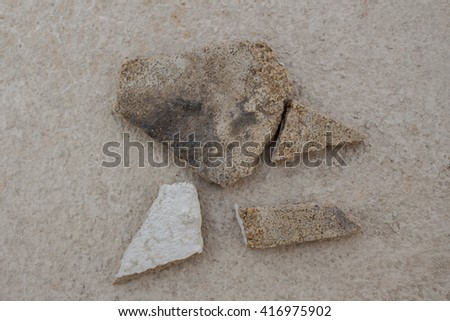 Wall debris smashed houses - stock photo