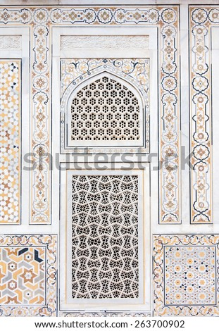 Wall decoration at the Tomb of I timad ud Daulah in Agra, Uttar Pradesh, India, a Mughal mausoleum often described as the Baby Taj or jewel box. - stock photo