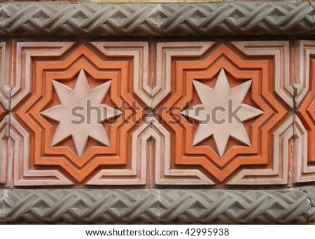 Wall decoration on the Great Synagogue in Budapest - stock photo