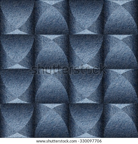 Wall decorative tiles - paneling pattern - Interior Design wallpaper - Abstract checkered style - continuous replication - seamless background - blue jeans textile - stock photo