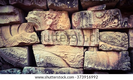 Wall detail in Angkor, Cambodia