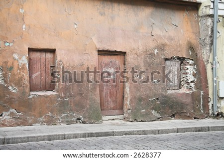 Wall Door and Windows Tallinn Estonia - stock photo
