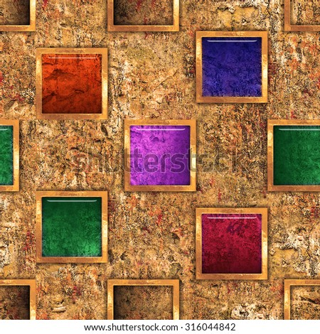 Wall Frame. Abstract Background seamless wall with relief frames. - stock photo