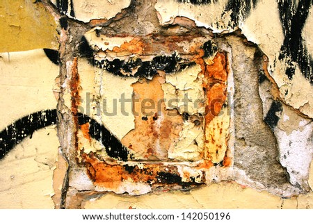 Wall grunge background with rust, paint and dirt - stock photo