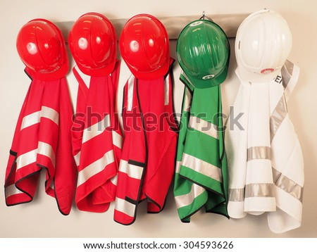 Wall hanger with vest and helmets for a emergency warden team, Melbourne 2015