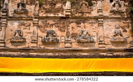 Wall in thai temple - stock photo