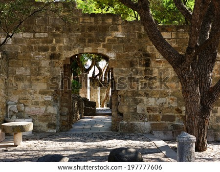 wall in the Castle of San Jorge,Alfama, Lisbon, Portugal - stock photo