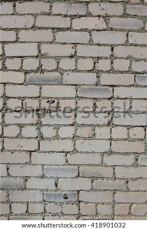 Wall made of white bricks. Texture, vintage