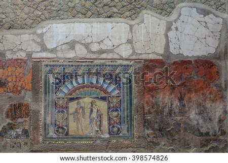 Wall Mosaic of Neptune and Amphitrite from Herculaneum - stock photo