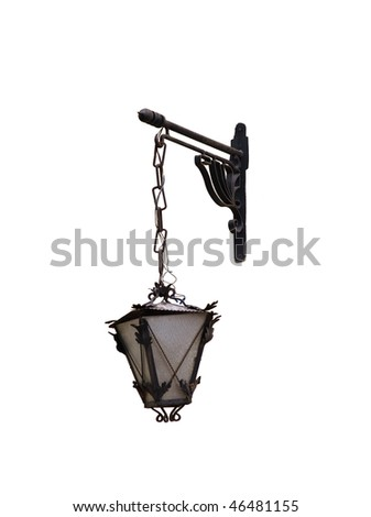 wall mounted antique street light isolated on white - stock photo