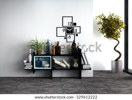 Wall-mounted shelves with personal effects and a designer clock in a modern living room interior with a potted spiral twist topiary tree side lit by daylight from a window. 3d Rendering. - stock photo