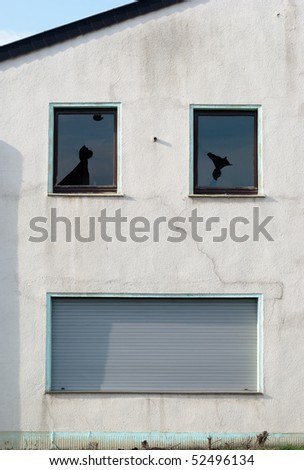 Wall of abandoned house similar to laughing or crying face - stock photo