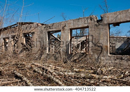 Wall of Destroyed building,  concept demolition, earthquake, catastrophe, disaster - stock photo