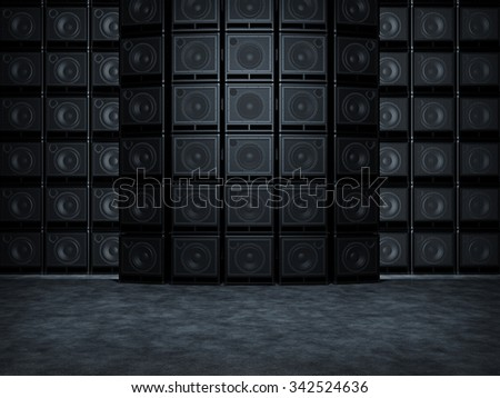 Wall of guitar amps - stock photo