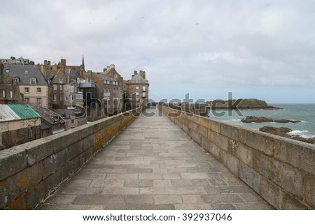 Wall of historical city Saint Malo, France  - stock photo