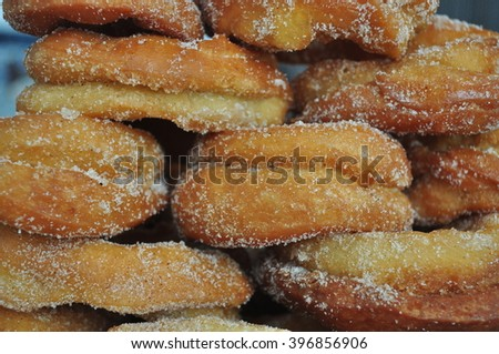 wall of homemade fried donut
