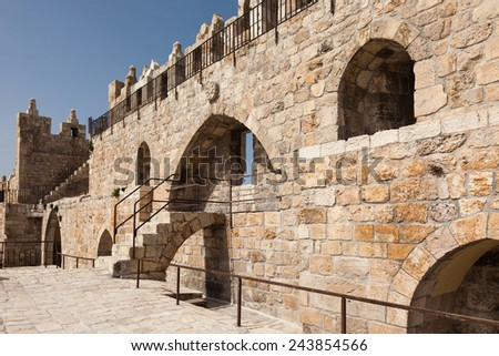 Wall of Jerusalem old city, Israel - stock photo
