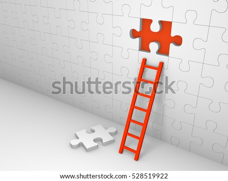 Wall of jigsaw puzzle with missing piece. 3d render.