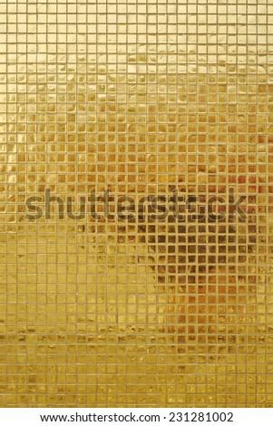 wall of shining golden mosaic - stock photo