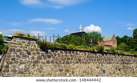 Wall of the Akershus Castle in Oslo, Norway - stock photo
