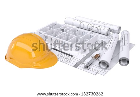 Wall of the house on the architectural drawings. Isolated render on a white background - stock photo