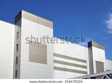 Wall of the large industrial facility of steel color - stock photo