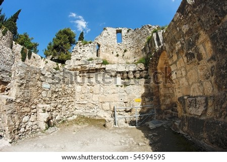Wall of the ruins of Byzantine church near St. Anne and pool of Bethesda in Jerusalem