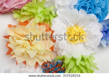 Wall of Tissue Paper Flowers