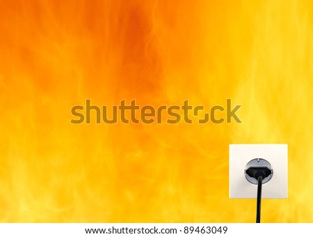 Wall outlet on the orange wall - stock photo