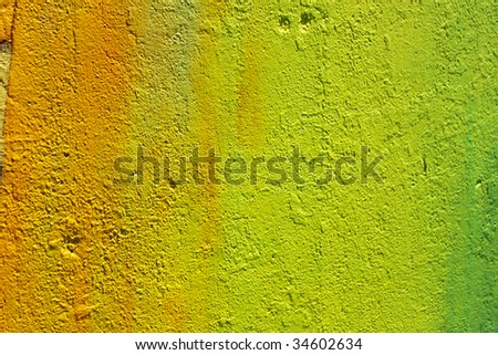 wall painted in shades of yellow and green - stock photo