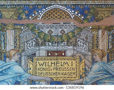 Wall painting in the Kaiser Wilhelm Memorial Church, Berlin Germany - stock photo