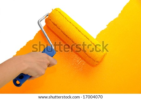 Wall painting - Orange - stock photo