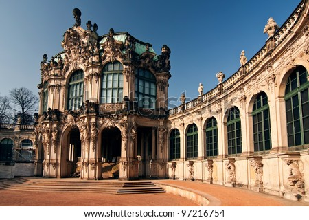 Wall pavilion at the north end of the Zwinger. Zwinger is a palace in Dresden. Today, the Zwinger is a museum complex that contains the Old Masters Picture Gallery.
