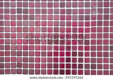 wall red ceramic mosaic tile texture - stock photo