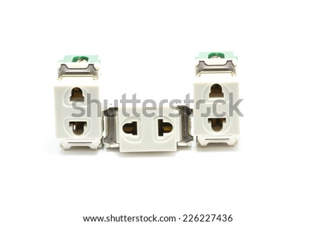 wall Socket On a white background. - stock photo