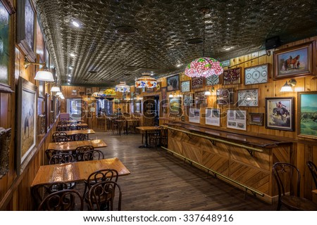 WALL, SOUTH DAKOTA - OCTOBER 28: Empty restaurant inside Wall Drug Store on Main Street on October 28, 2015 in Wall, South Dakota - stock photo