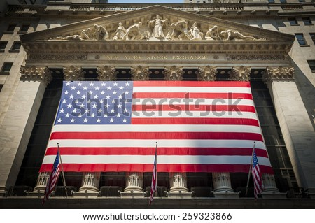 Wall Street New York Stock Exchange Entrance - stock photo