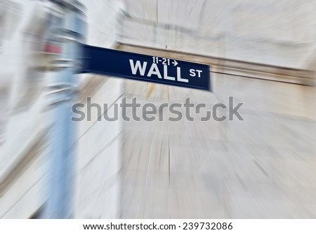 Wall Street road sign in New York. - stock photo