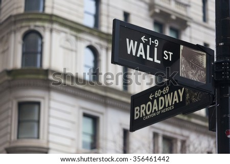 Wall street sign in New York with American flags and New York Stock Exchange background. - stock photo