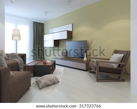 Wall system in modern living room. Idea of coffee-table in interior. 3D render