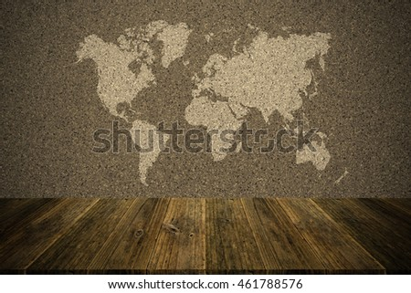 Wall texture surface natural color use for background , process in vintage style with Wood terrace and world map (Outline elements of world map image from NASA public domain)